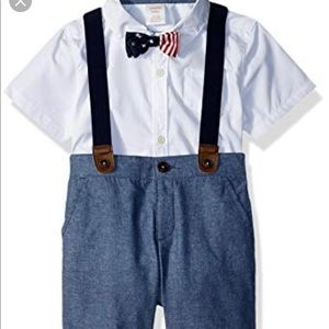 Adorable suspender short set with bow tie